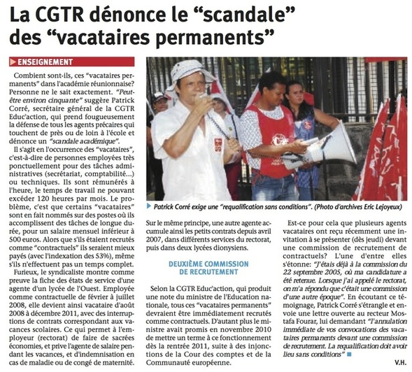 Article du JIR 02 11 2011 : La CGTR dnonce le scandale des vacataires permanents