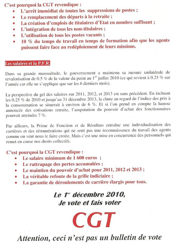 Elections à la Commission Administrative Paritaire Académique et Nationale : SCRUTIN DU 1ER DECEMBRE 2010